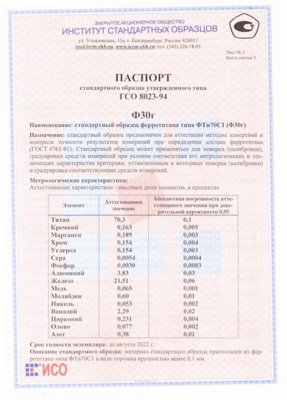 Паспорт на Ф30г