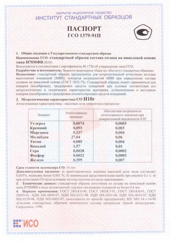 Паспорт на Н10г