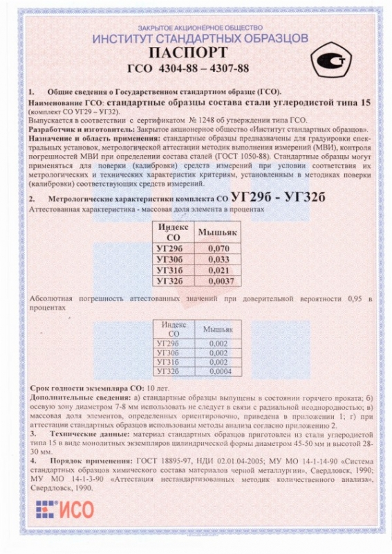 Паспорт на УГ30б