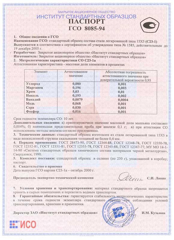 Паспорт на С23-1а