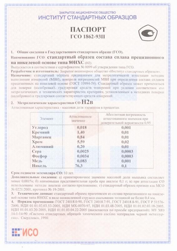 Паспорт на Н2в