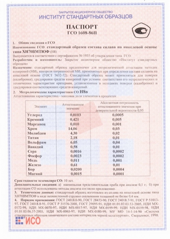 Паспорт на Н8в
