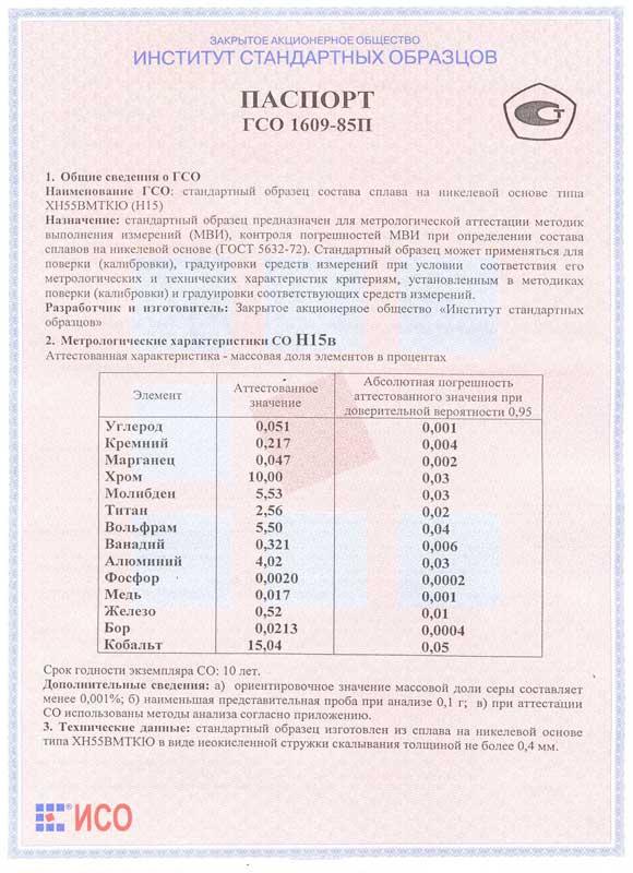 Паспорт на Н15в
