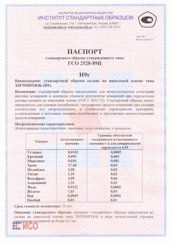 Паспорт на Н9г