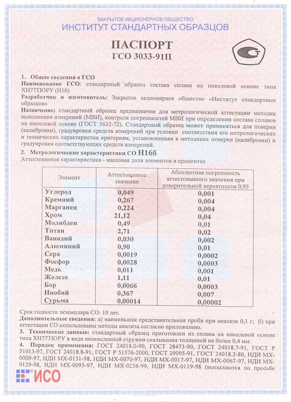 Паспорт на Н16б