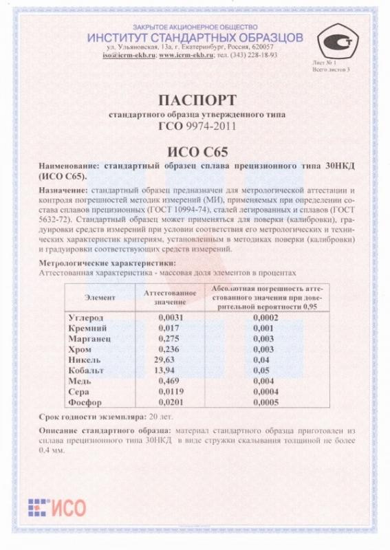 Паспорт на С65
