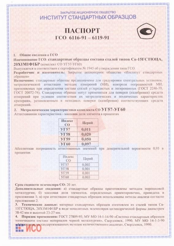 Паспорт на УГ60