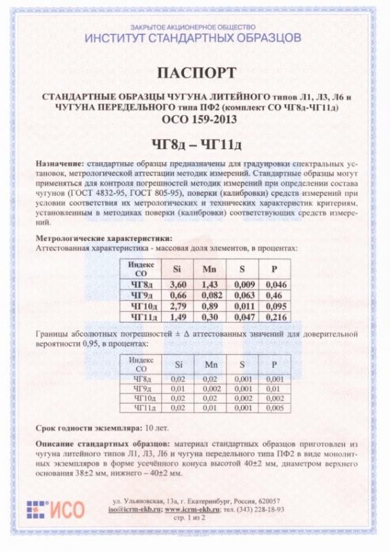 Паспорт на ЧГ8д