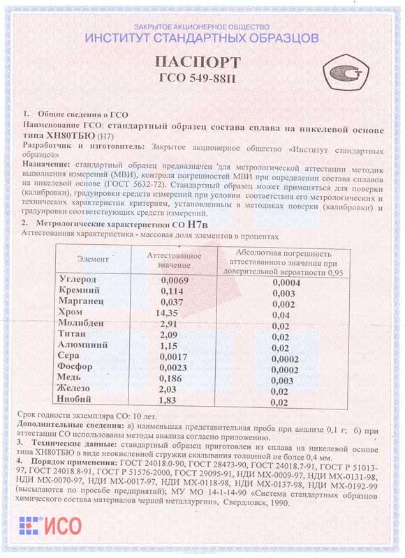 Паспорт на Н7в