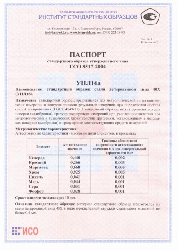Паспорт на УНЛ16а