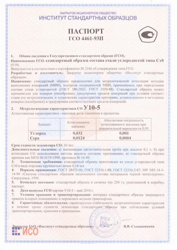 Паспорт на У10-5