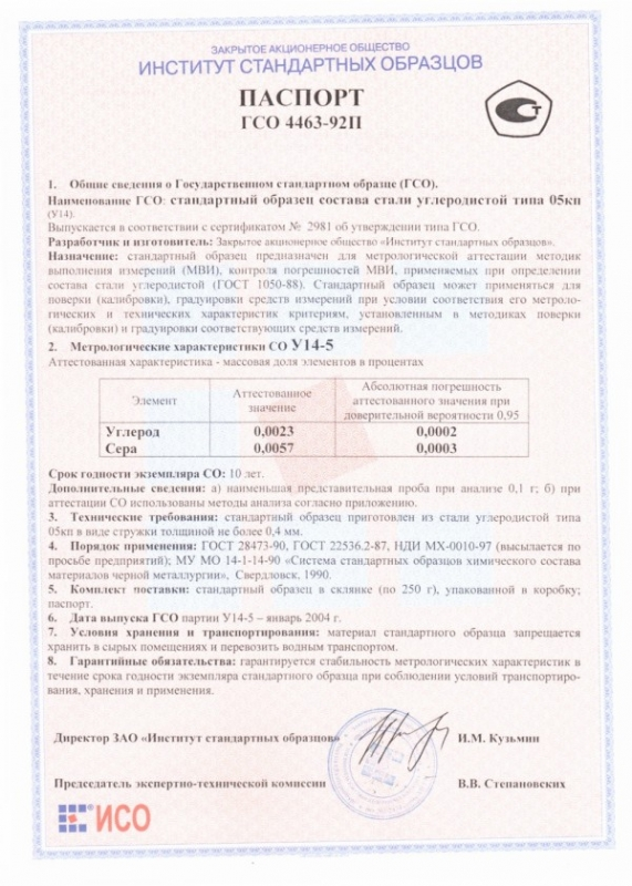 Паспорт на У14-5