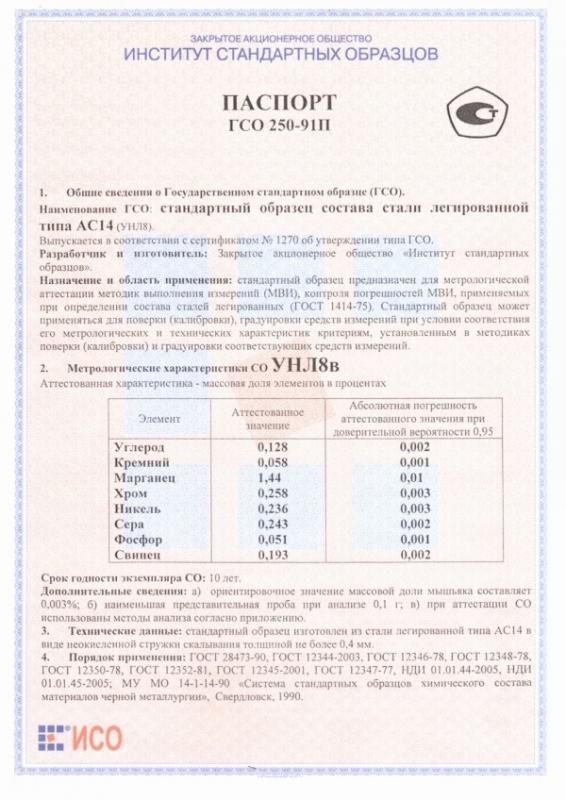 Паспорт на УНЛ8в