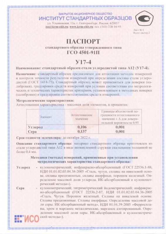 Паспорт на У17-4