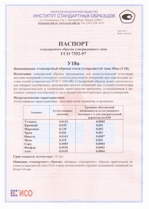 Паспорт на У18а