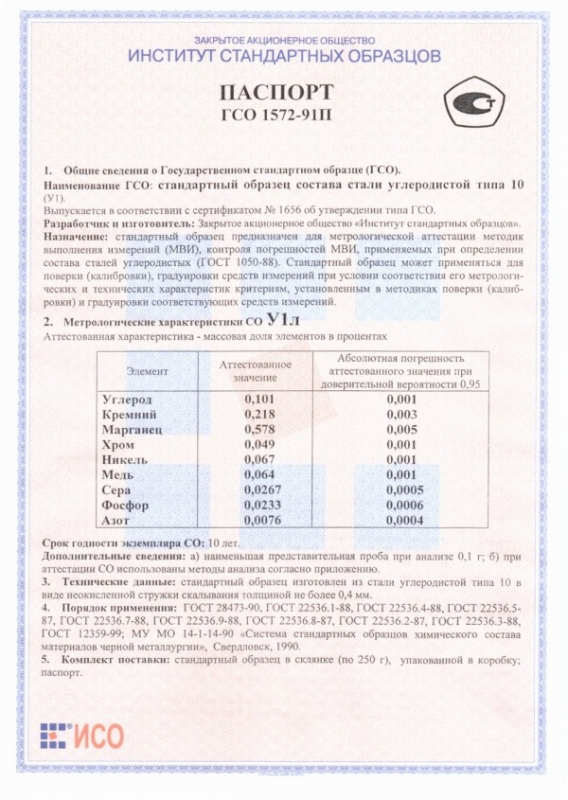 Паспорт на У1л
